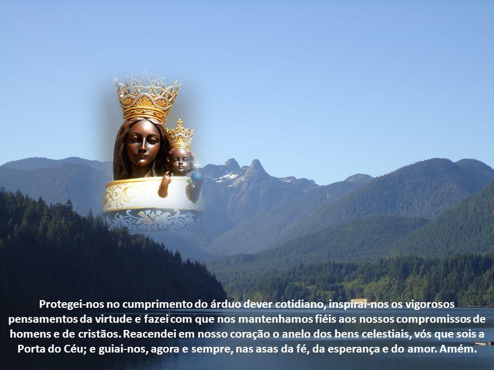 Ó Maria, Rainha do Céu, gloriosa Padroeira da Aviação, ergue-se até vós a nossa súplica.