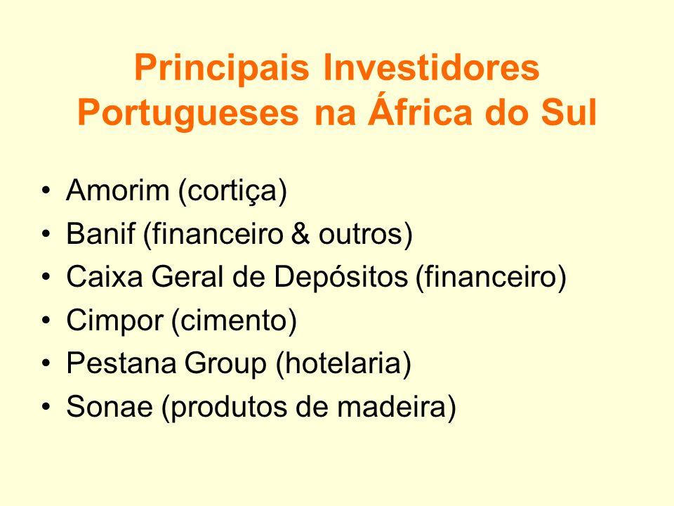 Comércio entre a África do Sul e Portugal Produtos Principais Importações Cortiça Tabaco Maquinaria Equipamento Sanitário Principais Exportações Produ
