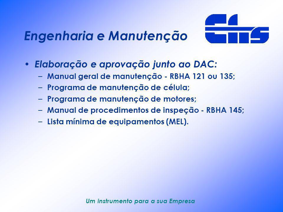 Um instrumento para a sua Empresa Engenharia e Manutenção Fornecimento regular de serviços – Análise de documentos técnicos : ADs, SBs, SILs, etc.; –