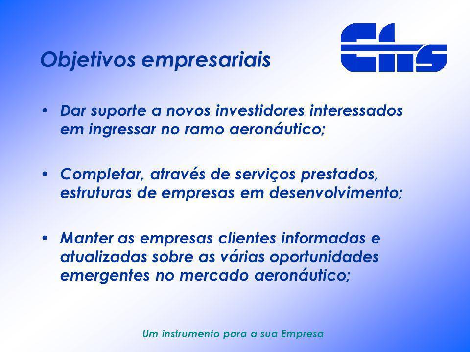 Um instrumento para a sua Empresa Visão empresarial Devemos suprir as necessidades das empresas aeronáuticas em desenvolvimento com serviços especiali