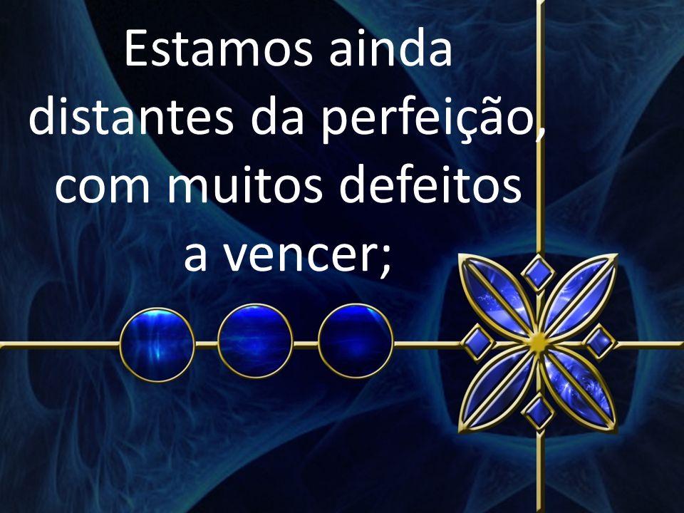 Estamos ainda distantes da perfeição, com muitos defeitos a vencer;