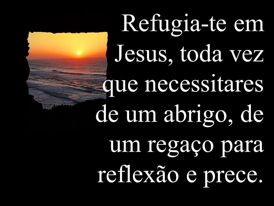 Refugia-te em Jesus, toda vez que necessitares de um abrigo, de um regaço para reflexão e prece.