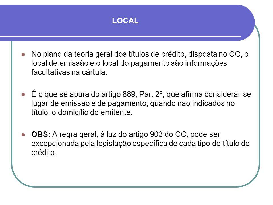 LOCAL No plano da teoria geral dos títulos de crédito, disposta no CC, o local de emissão e o local do pagamento são informações facultativas na cártula.