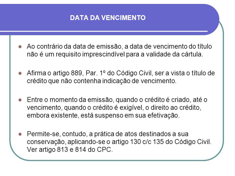 DATA DA VENCIMENTO Ao contrário da data de emissão, a data de vencimento do título não é um requisito imprescindível para a validade da cártula.