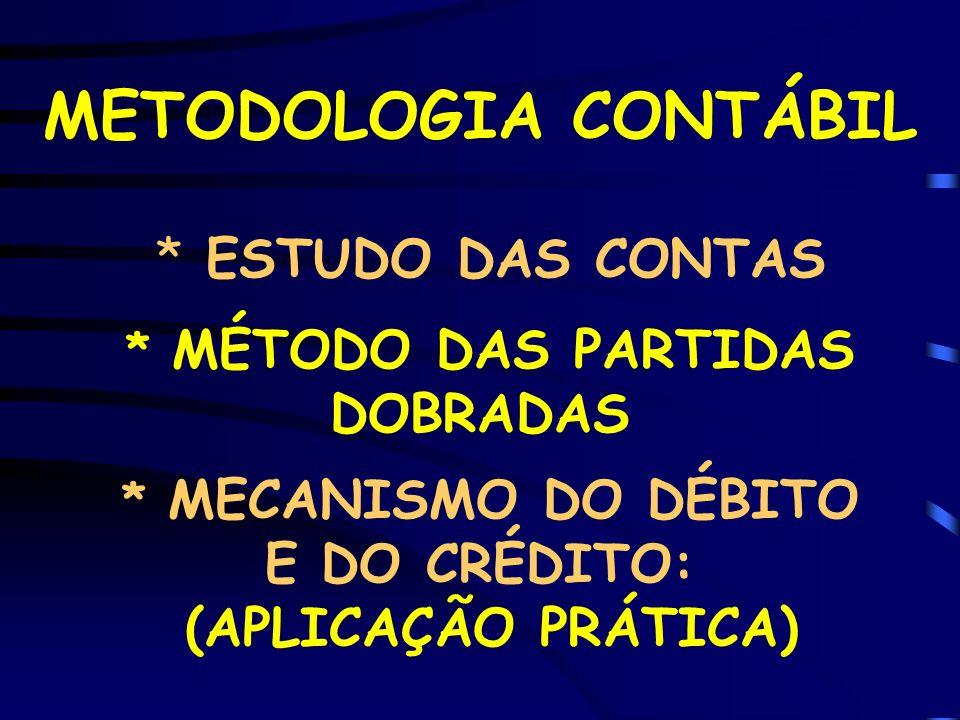 METODOLOGIA CONTÁBIL * ESTUDO DAS CONTAS * MÉTODO DAS PARTIDAS DOBRADAS * MECANISMO DO DÉBITO E DO CRÉDITO: (APLICAÇÃO PRÁTICA)