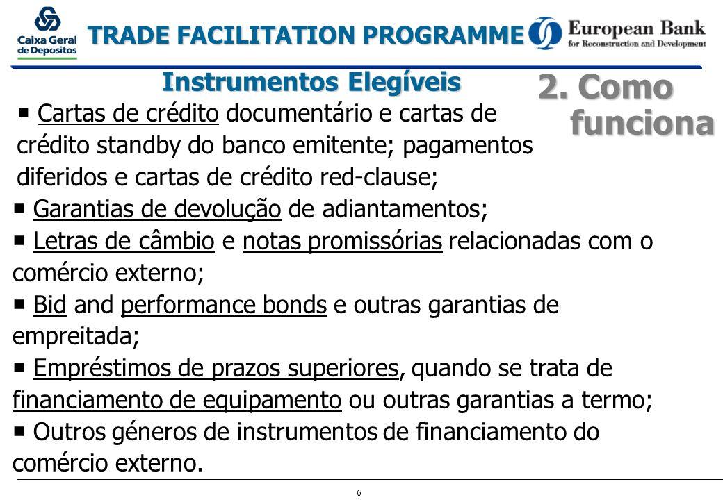 6 TRADE FACILITATION PROGRAMME 2. Como funciona Instrumentos Elegíveis Cartas de crédito documentário e cartas de crédito standby do banco emitente; p