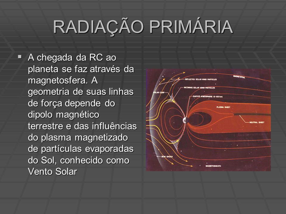 RADIAÇÃO PRIMÁRIA A chegada da RC ao planeta se faz através da magnetosfera.