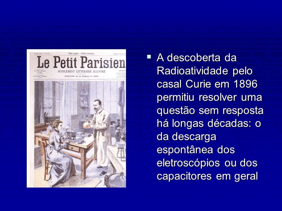 A descoberta da Radioatividade pelo casal Curie em 1896 permitiu resolver uma questão sem resposta há longas décadas: o da descarga espontânea dos eletroscópios ou dos capacitores em geral A descoberta da Radioatividade pelo casal Curie em 1896 permitiu resolver uma questão sem resposta há longas décadas: o da descarga espontânea dos eletroscópios ou dos capacitores em geral