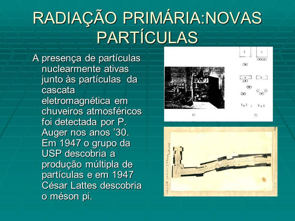 RADIAÇÃO PRIMÁRIA:NOVAS PARTÍCULAS A presença de partículas nuclearmente ativas junto às partículas da cascata eletromagnética em chuveiros atmosféricos foi detectada por P.