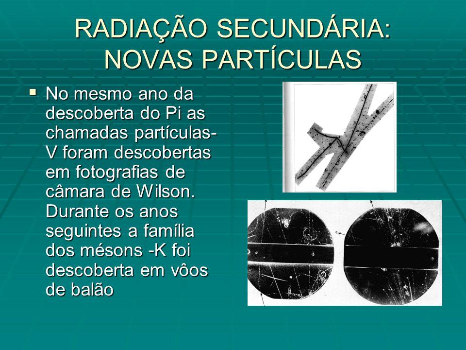No mesmo ano da descoberta do Pi as chamadas partículas- V foram descobertas em fotografias de câmara de Wilson.