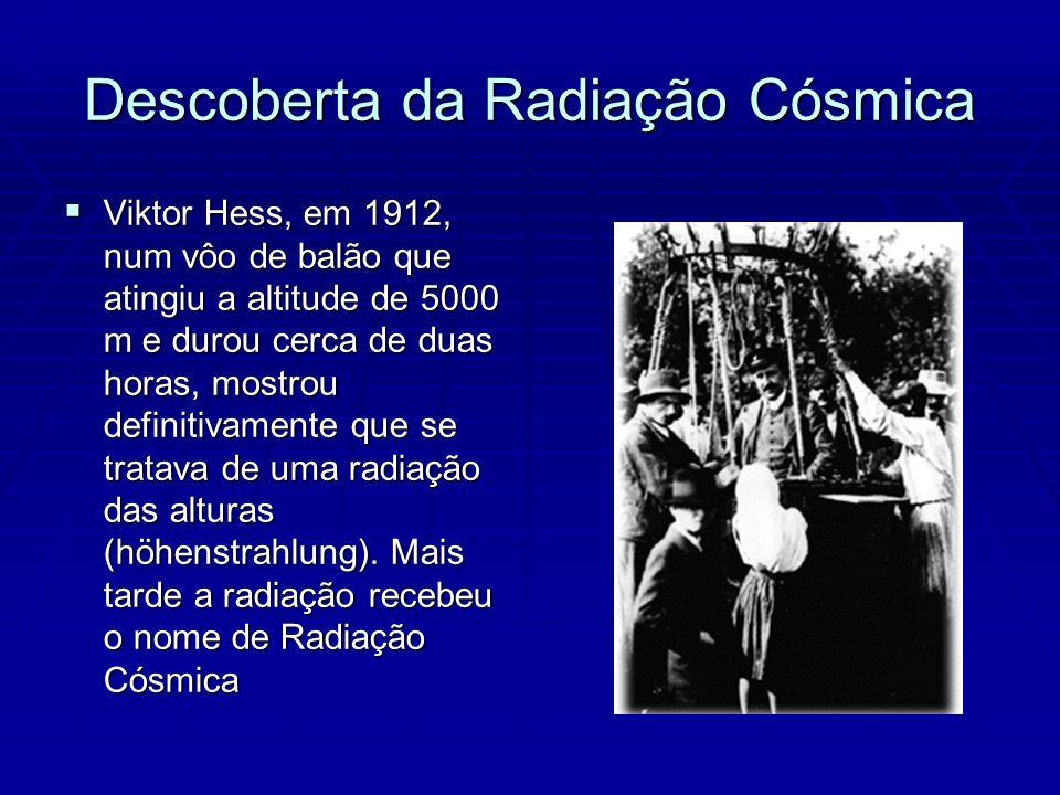 Descoberta da Radiação Cósmica Viktor Hess, em 1912, num vôo de balão que atingiu a altitude de 5000 m e durou cerca de duas horas, mostrou definitivamente que se tratava de uma radiação das alturas (höhenstrahlung).