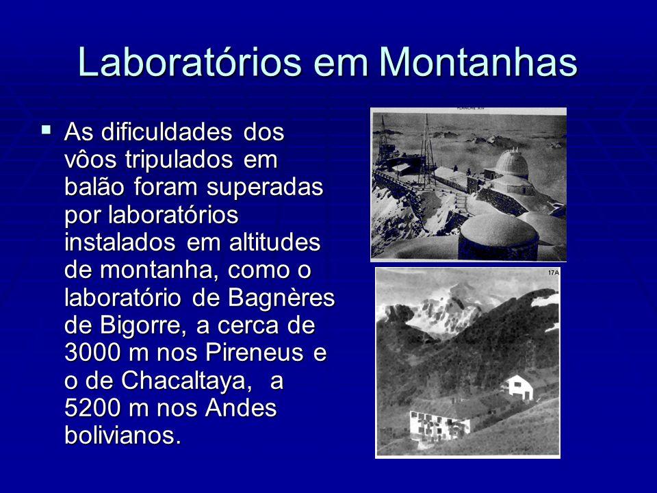 Laboratórios em Montanhas As dificuldades dos vôos tripulados em balão foram superadas por laboratórios instalados em altitudes de montanha, como o laboratório de Bagnères de Bigorre, a cerca de 3000 m nos Pireneus e o de Chacaltaya, a 5200 m nos Andes bolivianos.