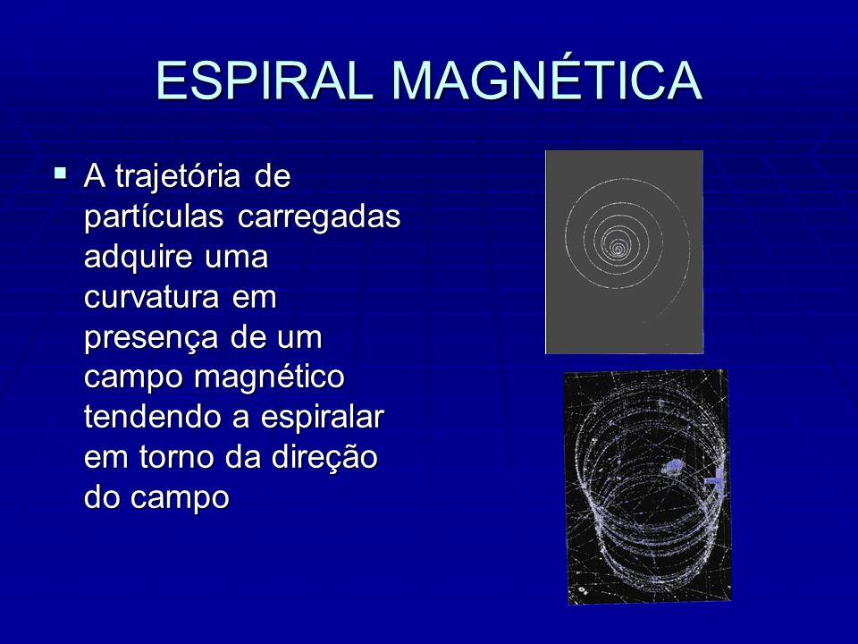ESPIRAL MAGNÉTICA A trajetória de partículas carregadas adquire uma curvatura em presença de um campo magnético tendendo a espiralar em torno da direção do campo A trajetória de partículas carregadas adquire uma curvatura em presença de um campo magnético tendendo a espiralar em torno da direção do campo