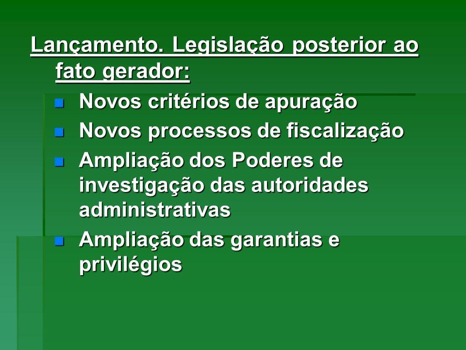 Lançamento. Legislação posterior ao fato gerador: Novos critérios de apuração Novos critérios de apuração Novos processos de fiscalização Novos proces