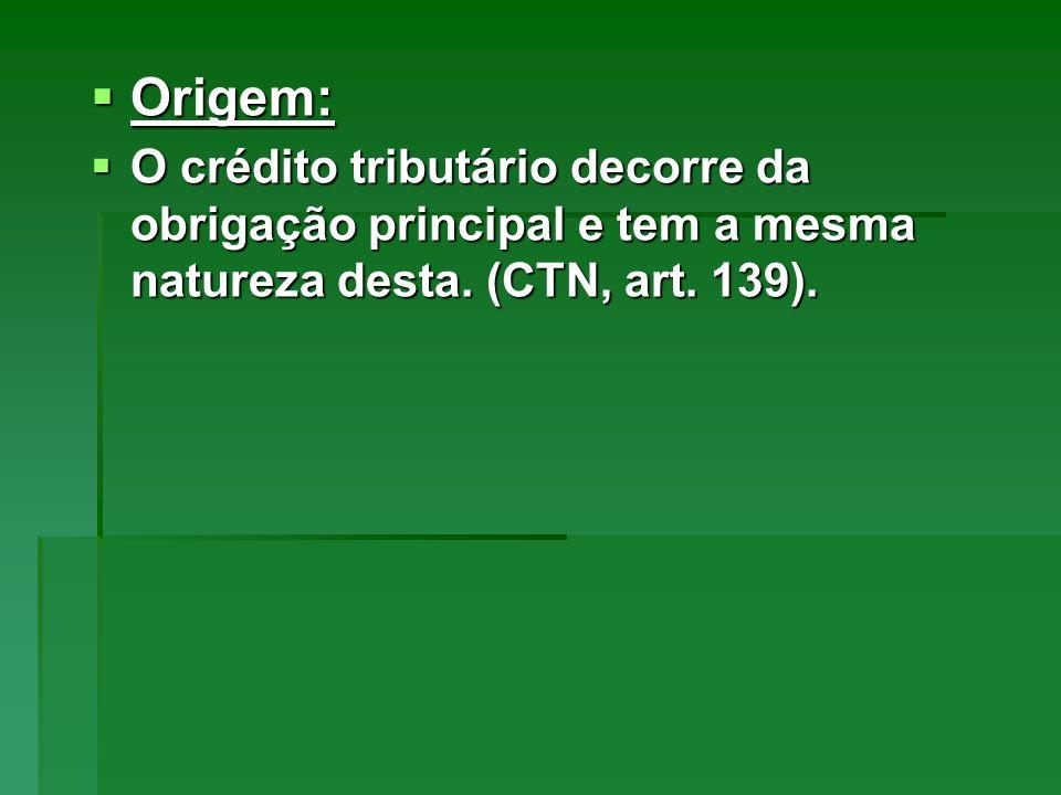Origem: Origem: O crédito tributário decorre da obrigação principal e tem a mesma natureza desta. (CTN, art. 139). O crédito tributário decorre da obr