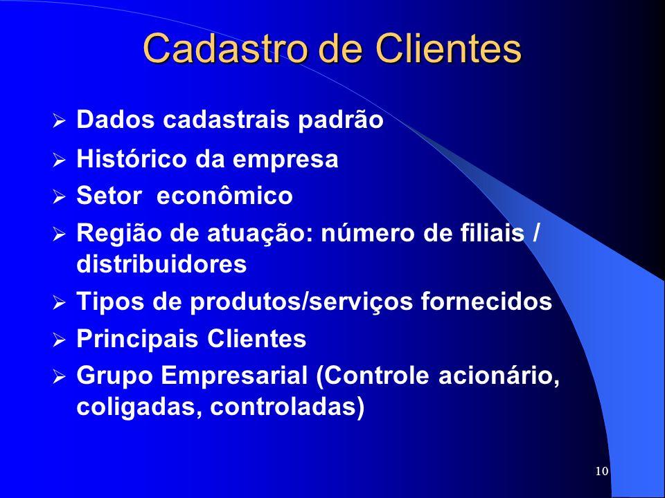 10 Cadastro de Clientes Dados cadastrais padrão Histórico da empresa Setor econômico Região de atuação: número de filiais / distribuidores Tipos de pr