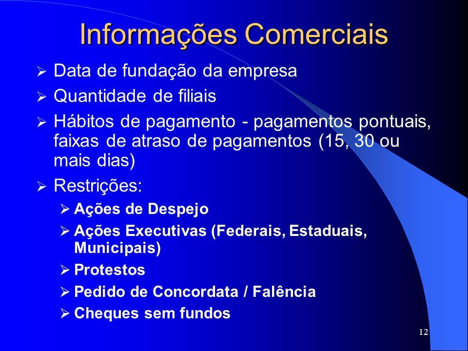 12 Informações Comerciais Data de fundação da empresa Quantidade de filiais Hábitos de pagamento - pagamentos pontuais, faixas de atraso de pagamentos
