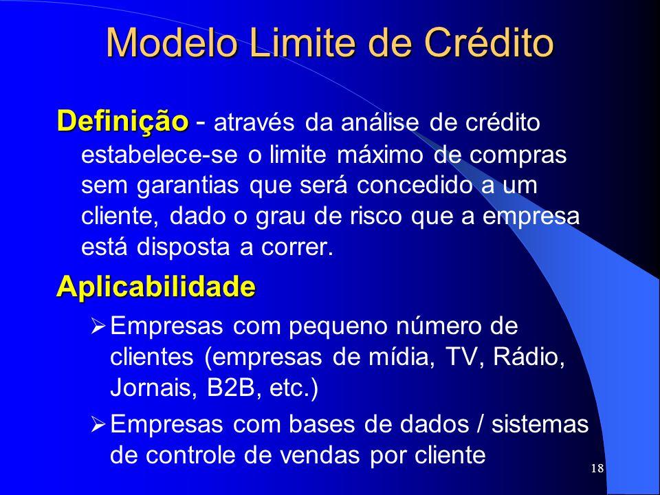 18 Modelo Limite de Crédito Definição Definição - através da análise de crédito estabelece-se o limite máximo de compras sem garantias que será conced