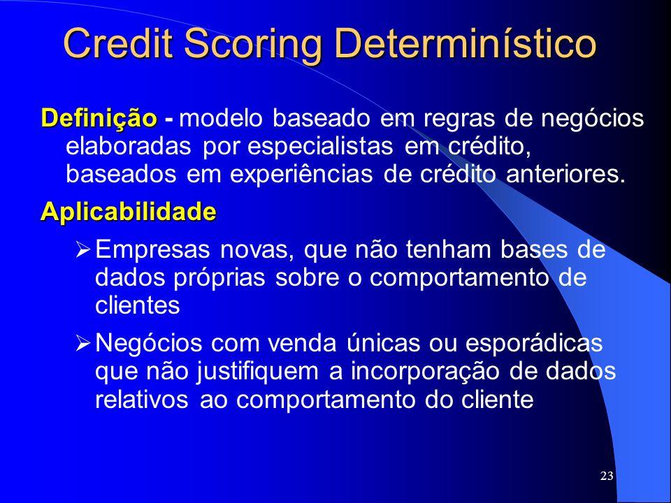 23 Credit Scoring Determinístico Definição Definição - modelo baseado em regras de negócios elaboradas por especialistas em crédito, baseados em exper