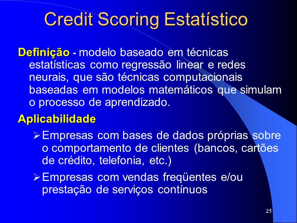 25 Credit Scoring Estatístico Definição Definição - modelo baseado em técnicas estatísticas como regressão linear e redes neurais, que são técnicas co