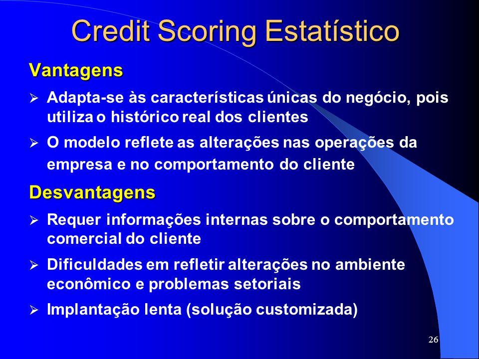 26 Credit Scoring Estatístico Vantagens Adapta-se às características únicas do negócio, pois utiliza o histórico real dos clientes O modelo reflete as