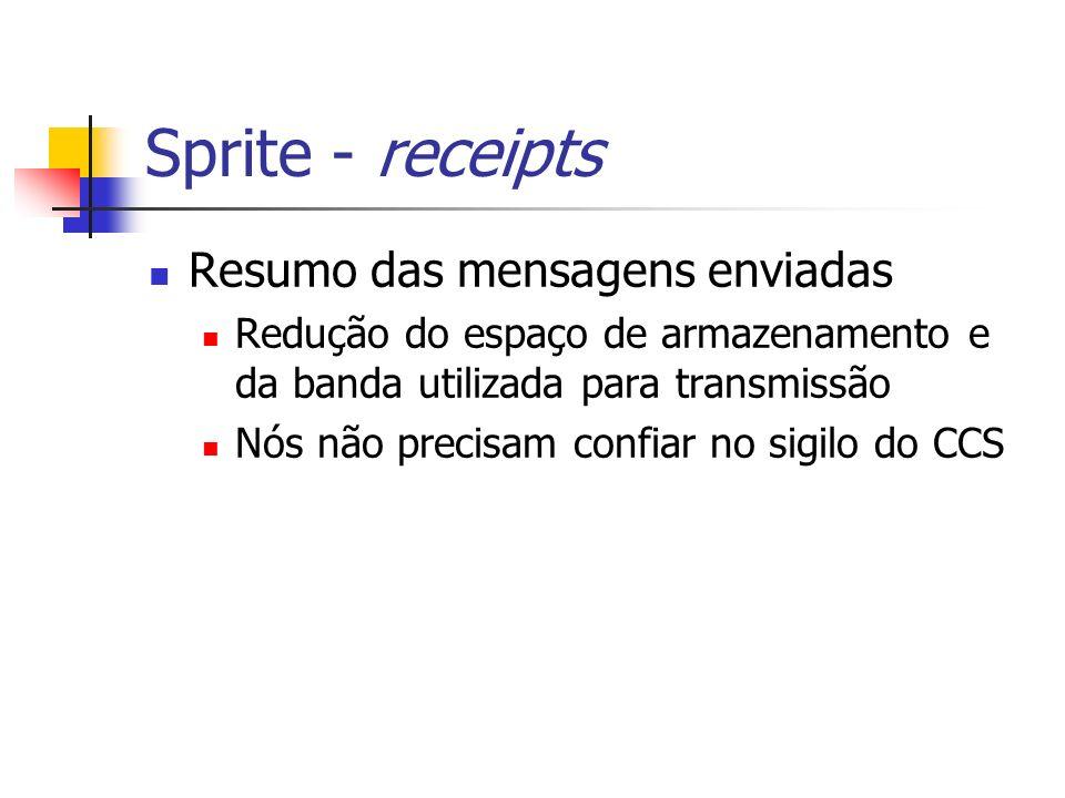 Sprite - receipts Resumo das mensagens enviadas Redução do espaço de armazenamento e da banda utilizada para transmissão Nós não precisam confiar no s