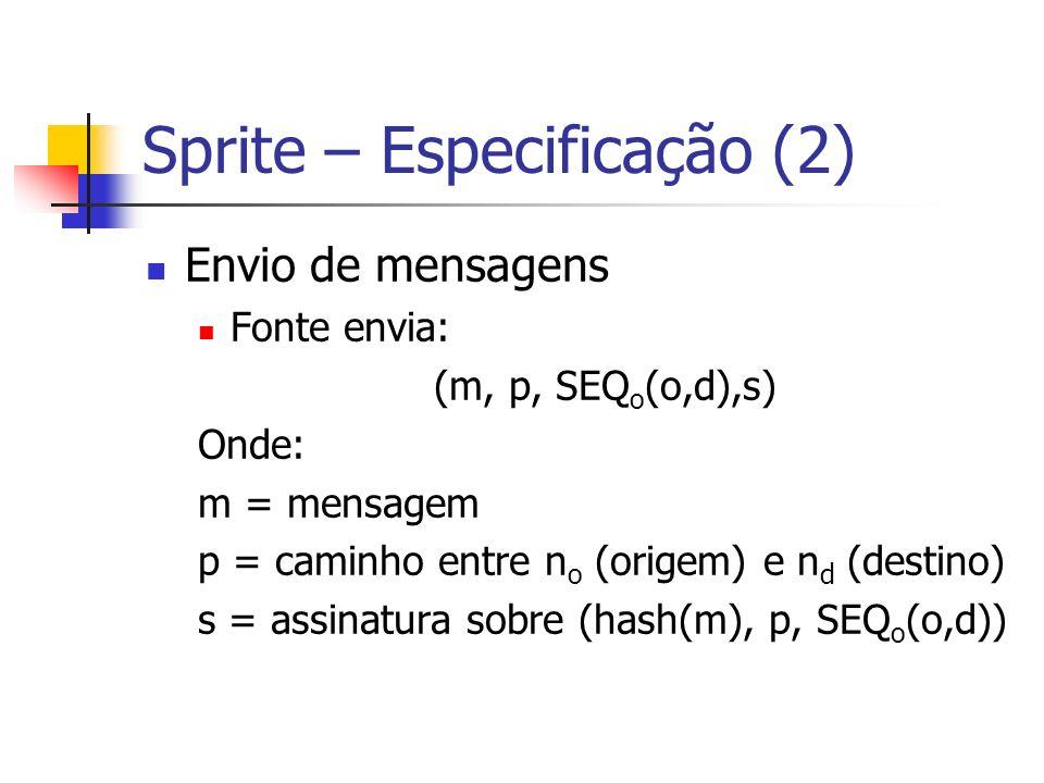 Sprite – Especificação (2) Envio de mensagens Fonte envia: (m, p, SEQ o (o,d),s) Onde: m = mensagem p = caminho entre n o (origem) e n d (destino) s =