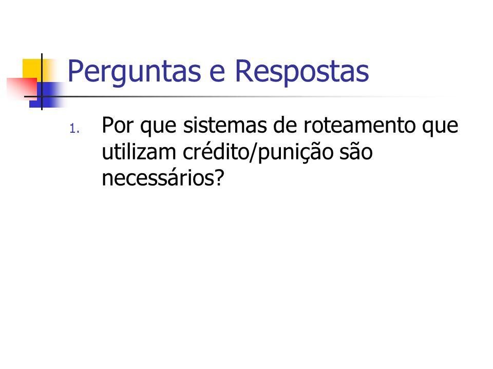 Perguntas e Respostas 1. Por que sistemas de roteamento que utilizam crédito/punição são necessários?