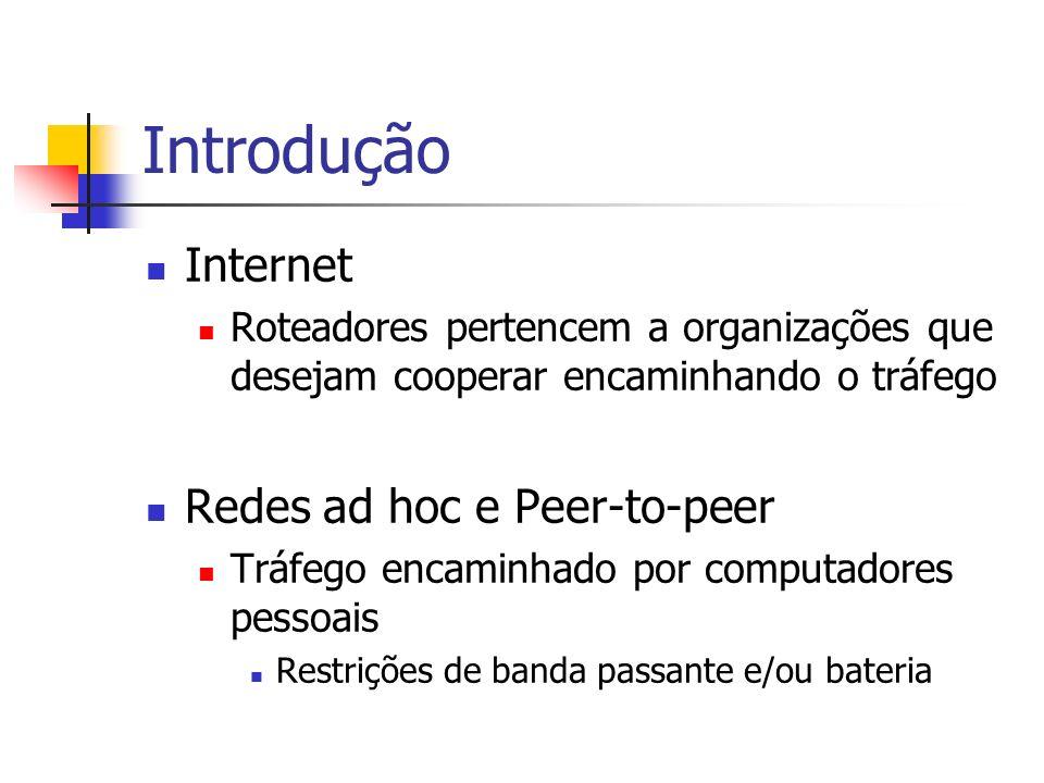 Introdução Internet Roteadores pertencem a organizações que desejam cooperar encaminhando o tráfego Redes ad hoc e Peer-to-peer Tráfego encaminhado po