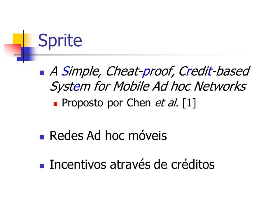 Sprite A Simple, Cheat-proof, Credit-based System for Mobile Ad hoc Networks Proposto por Chen et al. [1] Redes Ad hoc móveis Incentivos através de cr