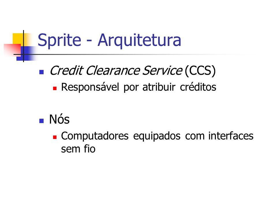 Sprite - Arquitetura Credit Clearance Service (CCS) Responsável por atribuir créditos Nós Computadores equipados com interfaces sem fio