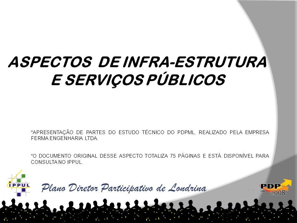 Plano Diretor Participativo de Londrina ASPECTOS DE INFRA-ESTRUTURA E SERVIÇOS PÚBLICOS *APRESENTAÇÃO DE PARTES DO ESTUDO TÉCNICO DO PDPML, REALIZADO