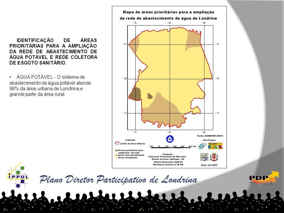 Plano Diretor Participativo de Londrina Fonte: Cadastro Imobiliário 2007 IDENTIFICAÇÃO DE ÁREAS PRIORITÁRIAS PARA A AMPLIAÇÃO DA REDE DE ABASTECIMENTO