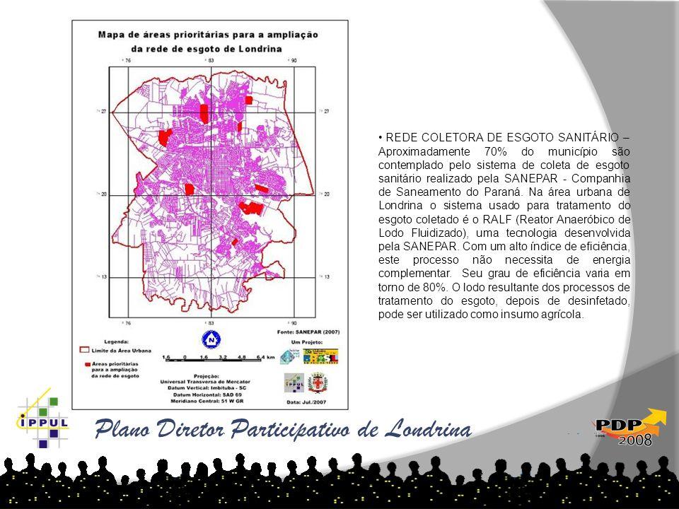 Plano Diretor Participativo de Londrina Fonte: Cadastro Imobiliário 2007 REDE COLETORA DE ESGOTO SANITÁRIO – Aproximadamente 70% do município são cont