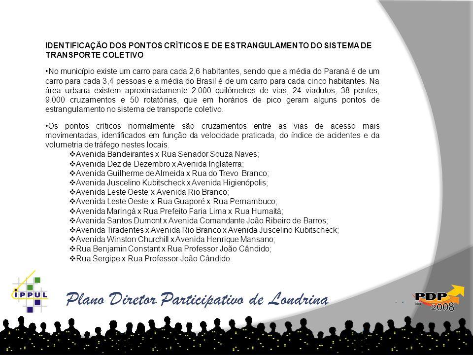 Plano Diretor Participativo de Londrina IDENTIFICAÇÃO DOS PONTOS CRÍTICOS E DE ESTRANGULAMENTO DO SISTEMA DE TRANSPORTE COLETIVO No município existe u