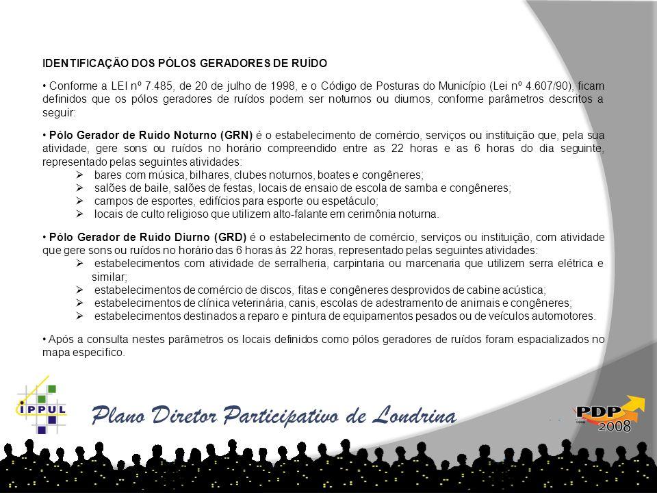 Plano Diretor Participativo de Londrina IDENTIFICAÇÃO DOS PÓLOS GERADORES DE RUÍDO Conforme a LEI nº 7.485, de 20 de julho de 1998, e o Código de Post
