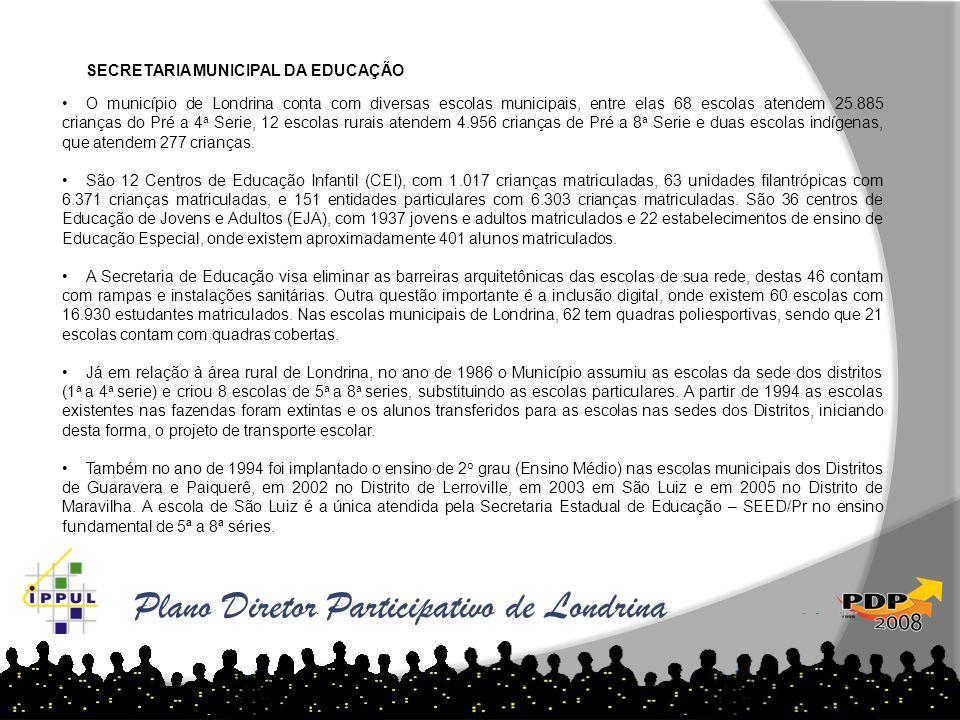 SECRETARIA MUNICIPAL DA EDUCAÇÃO O município de Londrina conta com diversas escolas municipais, entre elas 68 escolas atendem 25.885 crianças do Pré a