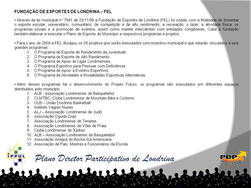 Plano Diretor Participativo de Londrina FUNDAÇÃO DE ESPORTES DE LONDRINA – FEL Através da lei municipal n° 7941 de 23/11/99 a Fundação de Esportes de