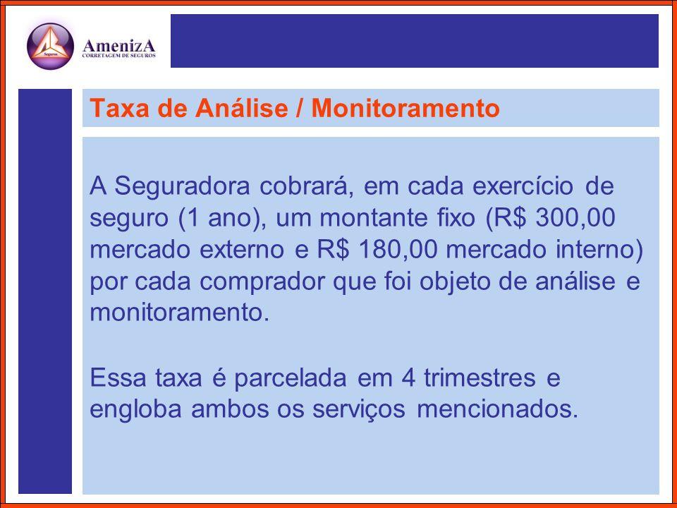 Taxa de Análise / Monitoramento A Seguradora cobrará, em cada exercício de seguro (1 ano), um montante fixo (R$ 300,00 mercado externo e R$ 180,00 mer
