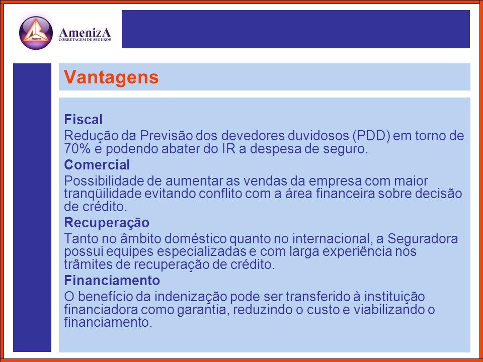 Vantagens Fiscal Redução da Previsão dos devedores duvidosos (PDD) em torno de 70% e podendo abater do IR a despesa de seguro. Comercial Possibilidade