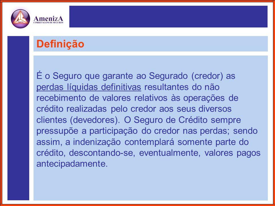 Definição É o Seguro que garante ao Segurado (credor) as perdas líquidas definitivas resultantes do não recebimento de valores relativos às operações