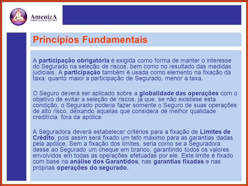 Princípios Fundamentais A participação obrigatória é exigida como forma de manter o interesse do Segurado na seleção de riscos, bem como no resultado