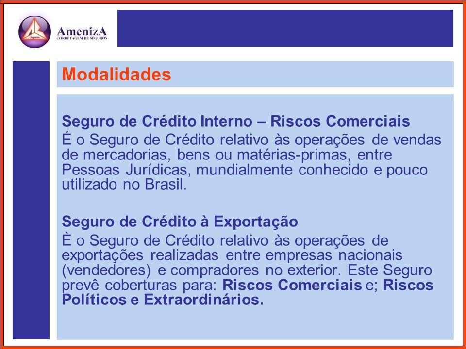 Modalidades Seguro de Crédito Interno – Riscos Comerciais É o Seguro de Crédito relativo às operações de vendas de mercadorias, bens ou matérias-prima