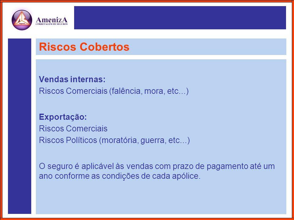 Riscos Cobertos Vendas internas: Riscos Comerciais (falência, mora, etc...) Exportação: Riscos Comerciais Riscos Políticos (moratória, guerra, etc...)