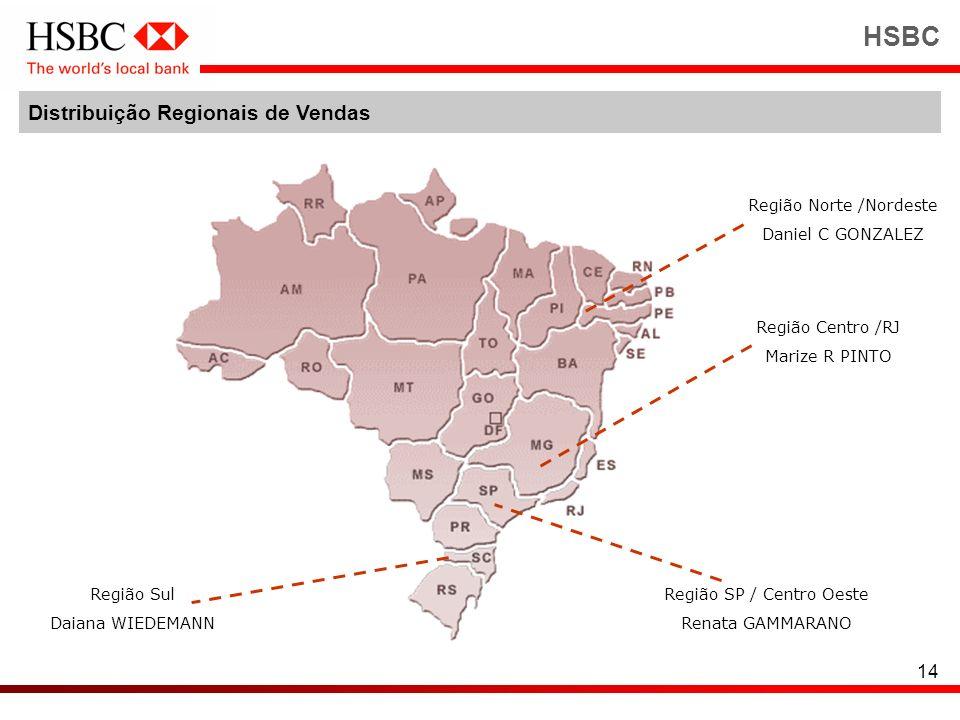 14 HSBC Distribuição Regionais de Vendas Região Centro /RJ Marize R PINTO Região Norte /Nordeste Daniel C GONZALEZ Região Sul Daiana WIEDEMANN Região