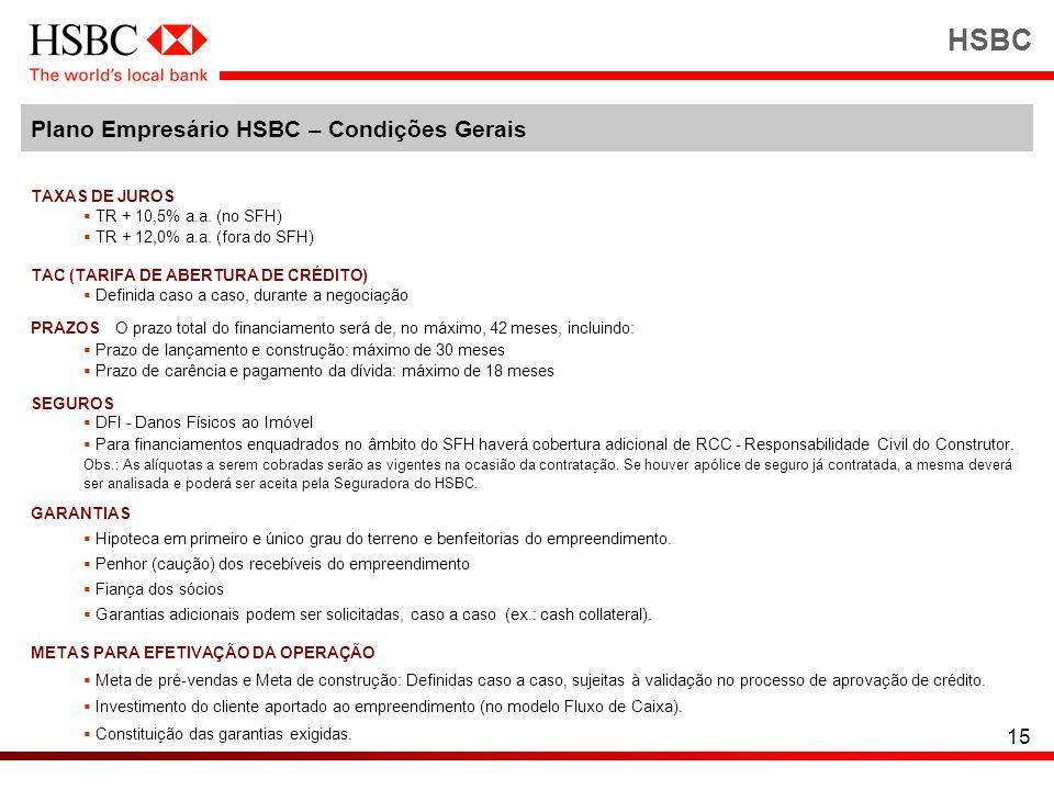 15 HSBC Plano Empresário HSBC – Condições Gerais TAXAS DE JUROS TR + 10,5% a.a. (no SFH) TR + 12,0% a.a. (fora do SFH) TAC (TARIFA DE ABERTURA DE CRÉD