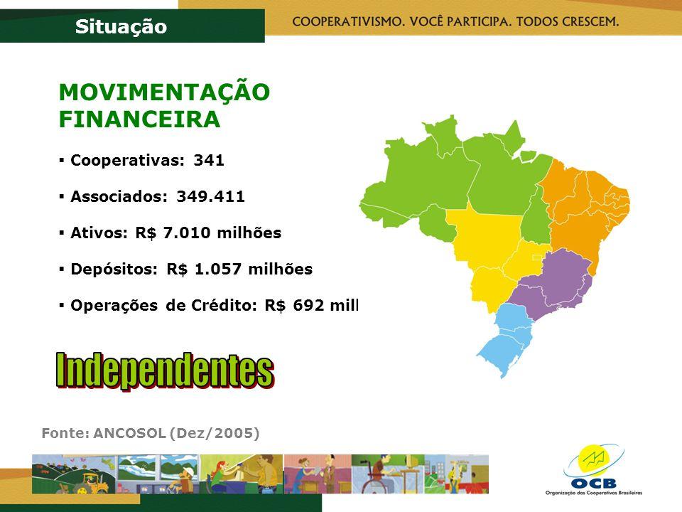 Fonte: ANCOSOL (Dez/2005) Situação MOVIMENTAÇÃO FINANCEIRA Cooperativas: 341 Associados: 349.411 Ativos: R$ 7.010 milhões Depósitos: R$ 1.057 milhões Operações de Crédito: R$ 692 milhões