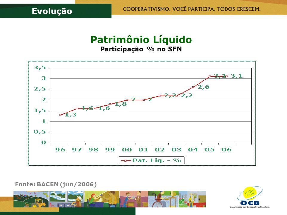 Patrimônio Líquido Participação % no SFN Evolução Fonte: BACEN (jun/2006)