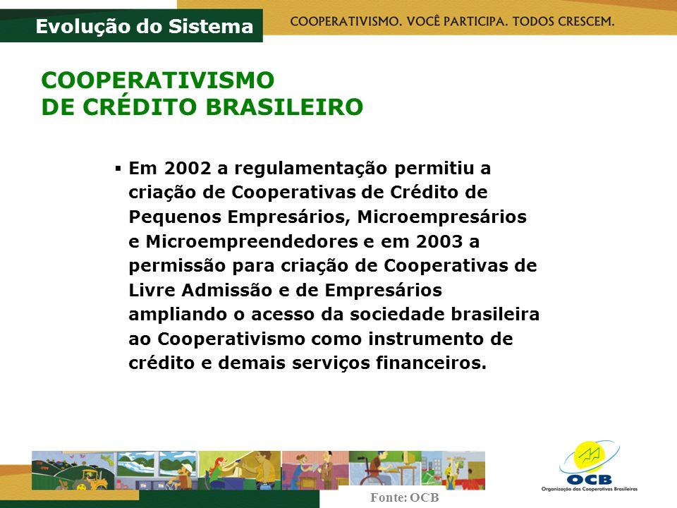 Em 2002 a regulamentação permitiu a criação de Cooperativas de Crédito de Pequenos Empresários, Microempresários e Microempreendedores e em 2003 a permissão para criação de Cooperativas de Livre Admissão e de Empresários ampliando o acesso da sociedade brasileira ao Cooperativismo como instrumento de crédito e demais serviços financeiros.