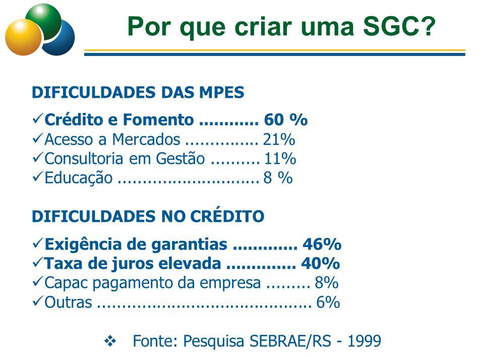 Por que criar uma SGC? DIFICULDADES DAS MPES Crédito e Fomento............ 60 % Acesso a Mercados............... 21% Consultoria em Gestão.......... 1